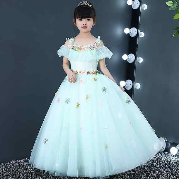 Платье для причастия с открытыми плечами длинное праздничное платье принцессы для дня рождения, кружевное бальное платье, платья с цветочным узором для девочек DF56