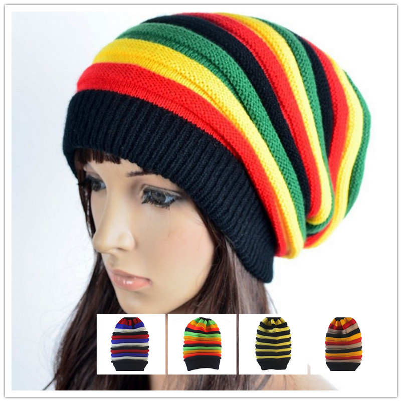 aee3875544d Hat Female Jamaica Reggae Cap Skullies   Beanies Color Hat Striped Wool  Tank Long Rainbow Knit Hood Cap for Women-in Skullies   Beanies from  Apparel ...