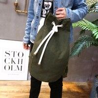 Casual Men Canvas Backpack Large Capacity Barrel Backpack String Drawstring Backpacks Back Pack Rucksack Mochila