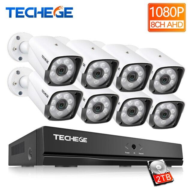 Techege 8CH 1080P אבטחת מצלמה מערכת 8ch DVR 1080P HDMI פלט וידאו עמיד למים Bullet מצלמה 2MP מצלמה מעקב ערכת
