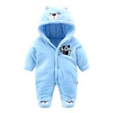 2017 флис младенческой зимняя одежда мягкий медведь стиль новорожденный мальчик одежды теплые Зимние комбинезоны для мальчика костюм пальто