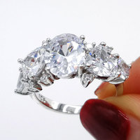 COLORFISH Oval Trillion Cut 6ct 925 Sterling Silver Anniversary Wedding Ring For Women Luxury Jewelry Fancy 5 Stone Bridal Rings