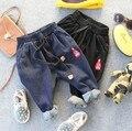 3-9Y новый 2016 осень мальчики моды джинсы дети большой PP брюки дети джинсы мальчиков джинсовые брюки