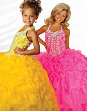 Beauty Orange Girls' Formal Occasion Pageant Dresses Halter Ball Gown Tiered Organza Ankle Length Flower Girl Dresses lovely pink beads rhinestone tiered flower girl dresses zipper floor length organza flower girl pageant dresses