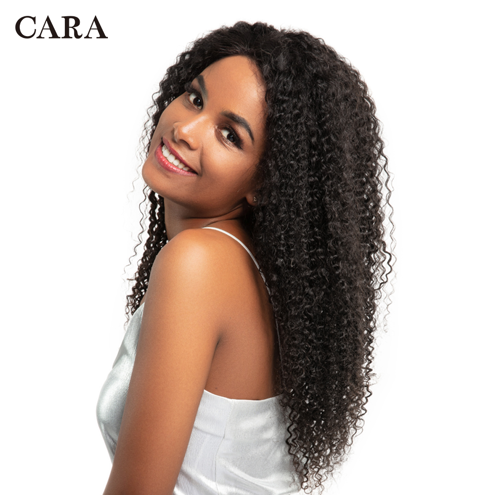 CARA Kinky Curly Lace Front Human Hair Wigs 130% Density Remy Hair Natural Color Pre Plucked Natural Hairline With Baby Hair
