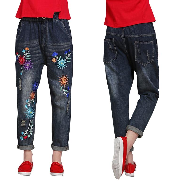 ФОТО Aliexpress Monikubu Women's fashion casual big plus size clothing denim embroidery pants trousers jeans for female ladies