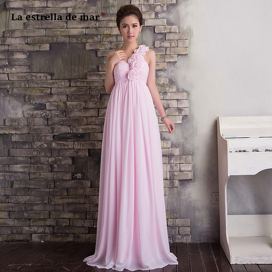 Robe demoiselle d'honneur2018 chiffon a Line one shoulder pink beige rose red   bridesmaid     dress   long beautiful vestido madrinha