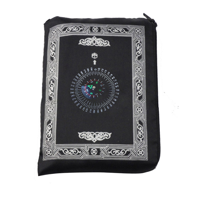 Image 3 - Muslim Prayer Rug Polyester Portable Braided Mats Simply Print  with Compass In Pouch Travel Home New Style Mat Blanket 100*60cmRug
