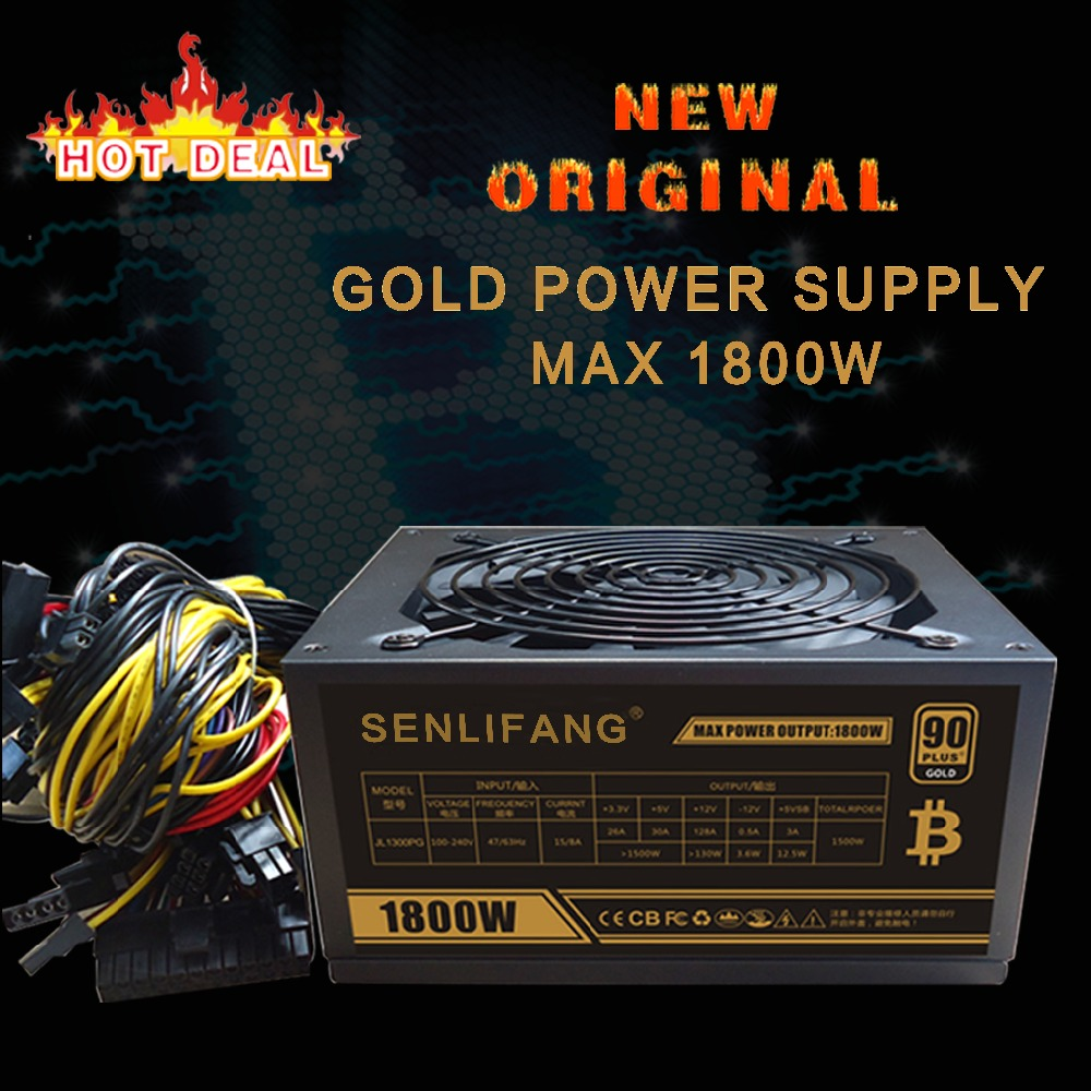 New original Gold POWER 1800W BTC power supply for R9 380 RX 470 RX480 6 GPU CARDS 1 years warranty free shipping new original xs7c1a1dbm8 xs7c1a1dbm8c warranty for two year