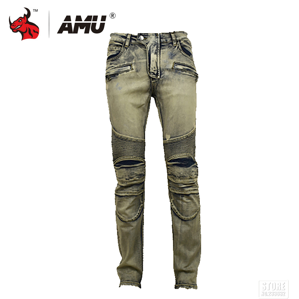 AMU Motorcycle Pants Men Riding Motorcycle Jeans Casual Motorbike Pants Protective Gear Racing Jeans Trousers blue print biker men jeans ripped slim fit hip hop denim trousers men s jeans high quality motorcycle pants punk homme