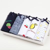 5pcs New Cute Lovely Cotton Women Underwear Middle Waist Fruit Seamless Woman Panties Soft Calcinha Lingerie Knicke Girl Briefs