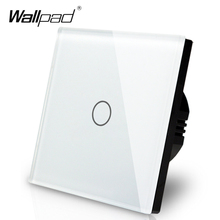 Hersteller Wallpad EU Standard 1 Gang 2 Way 3 Weg Control Weiß Wand Licht Touchscreen Schalter Glas Panel, freies Verschiffen