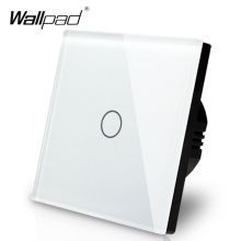 Manufacturer Wallpad EU Standard 1 Gang 2 Way 3 Way Control White Wall Light Touch Screen Switch Glass Panel, Free Shipping