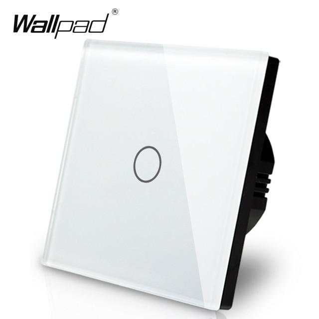 Manufacturer Wallpad EU Standard 1 Gang 2 Way 3 Way Control White Wall Light Touch Screen Switch Glass Panel, Free Shipping
