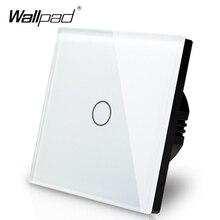 Produttore Wallpad Standard UE 1 Gang 2 Vie 3 Vie di Controllo Bianco Chiaro Della Parete di Tocco Interruttore Dello Schermo del Pannello di Vetro, trasporto Libero