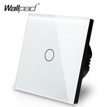 Wallpad Panel de vidrio de Interruptor táctil con pantalla táctil, Panel de Control de Vía Blanca, 1 entrada y 3 vías, estándar europeo, envío gratis