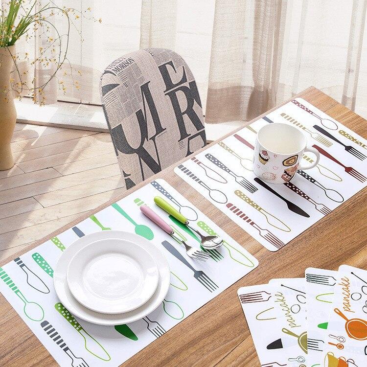 Коврики на стол Водонепроницаемый противообрастающих Pad столовых ПВХ изоляция плед обеденный coaster творческой печати легко чистить стол Дек...