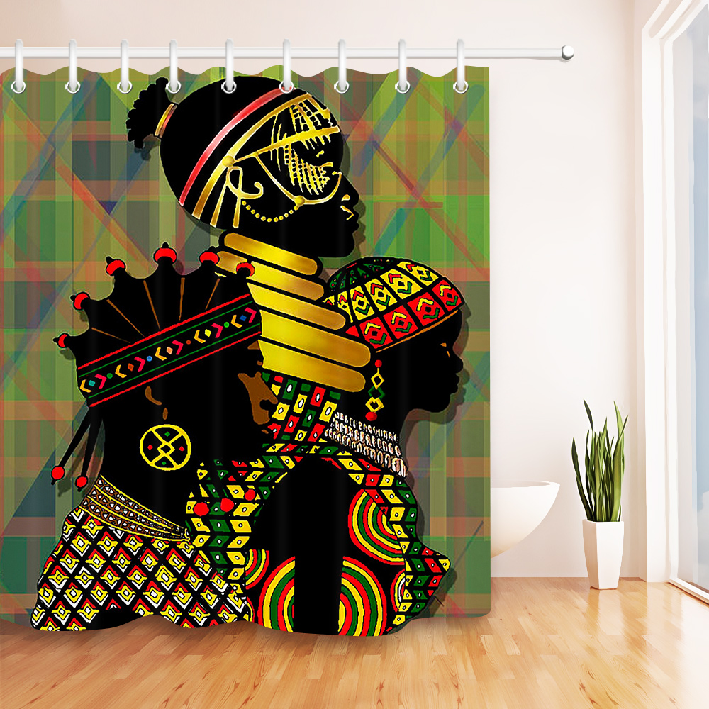 African Indigenous Women Shower Curtain Sets Bathroom Waterproof Fabric 12 Hooks