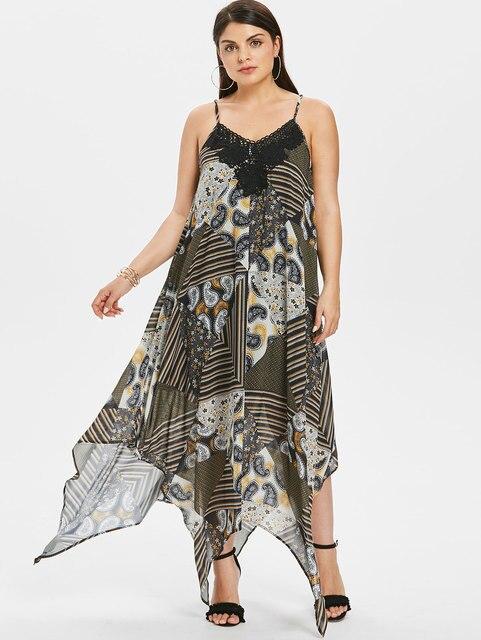5XL Plus Size Striped Paisley Handkerchief Maxi Dress Lace Trim ...