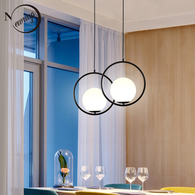 Simple loft circled iron glass pendant light LED E27 modern hanging lamp with 2 colors for parlor bedroom lobby restaurant cafe new loft vintage iron pendant light industrial lighting glass guard design bar cafe restaurant cage pendant lamp hanging lights