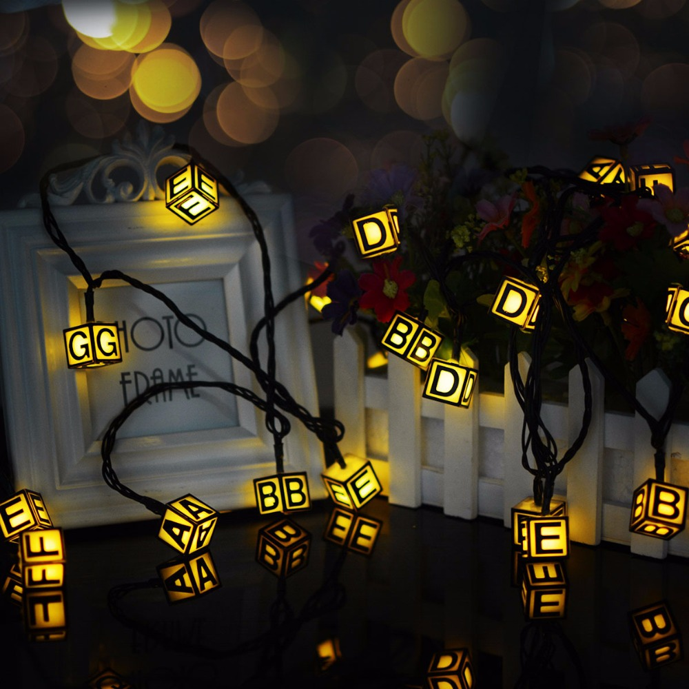 LED String English Letter Fairy String Lights Outdoor Solar Power Waterproof Garden Lighting Christmas Tree Decoration for Home