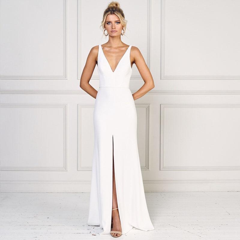 Eightree Thin Shoulder Strap Mermaid Evening Dress 2019 Bateau V Neck Elegant High Split Party Prom Backless Sweep Train