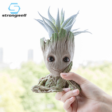 Strongwell Groot Flowerpot Flower Pot Planter Figurines Tree Man Cute Model Toy Pen Garden Gift for Kids