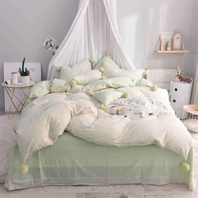 100%cotton Pink Green Cute Girls Bedding set Twin Queen King size Bed set  Soft Bedclothes Cute Ball Duvet cover Bed sheet set