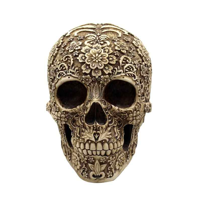 Resin Flowers Skull Realistic Human Skeleton Gothic Halloween Decoration Horrible Skull Head Ornament