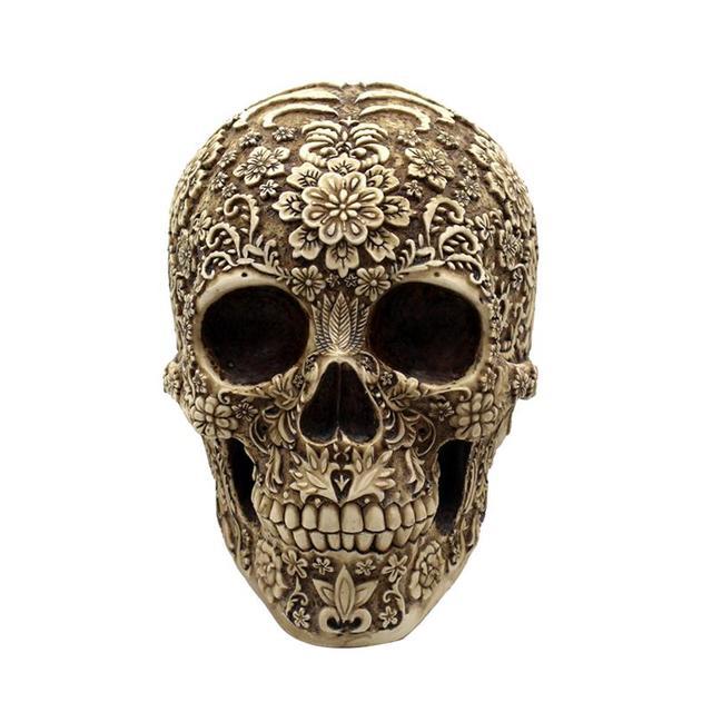 Resin Flowers Skull Realistic Human Skeleton Gothic Halloween Decoration Horrible Skull Head Ornament