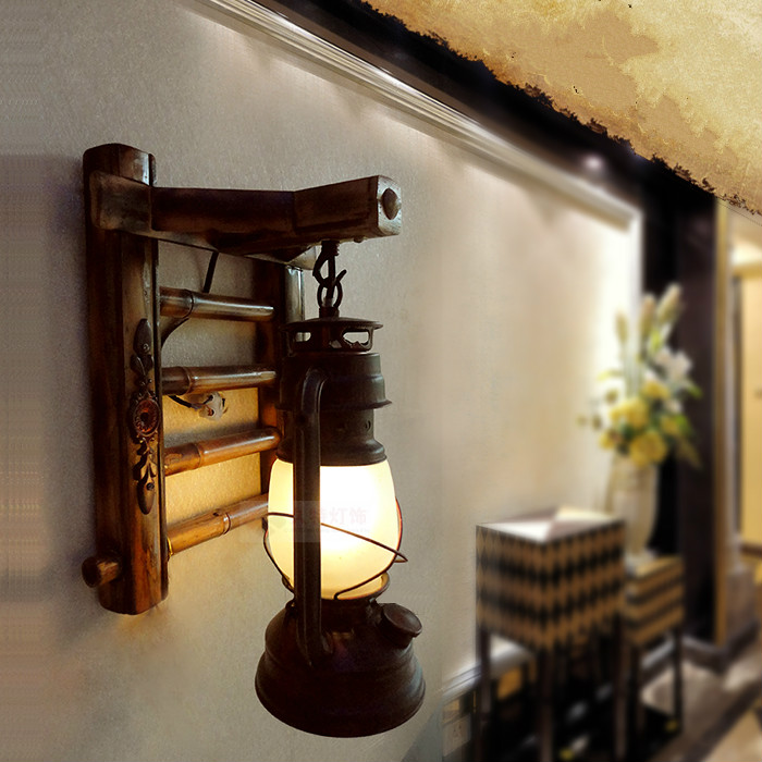 Antique wall lamp vintage living room bedroom bedside lamp LED lighting stair lamps lantern