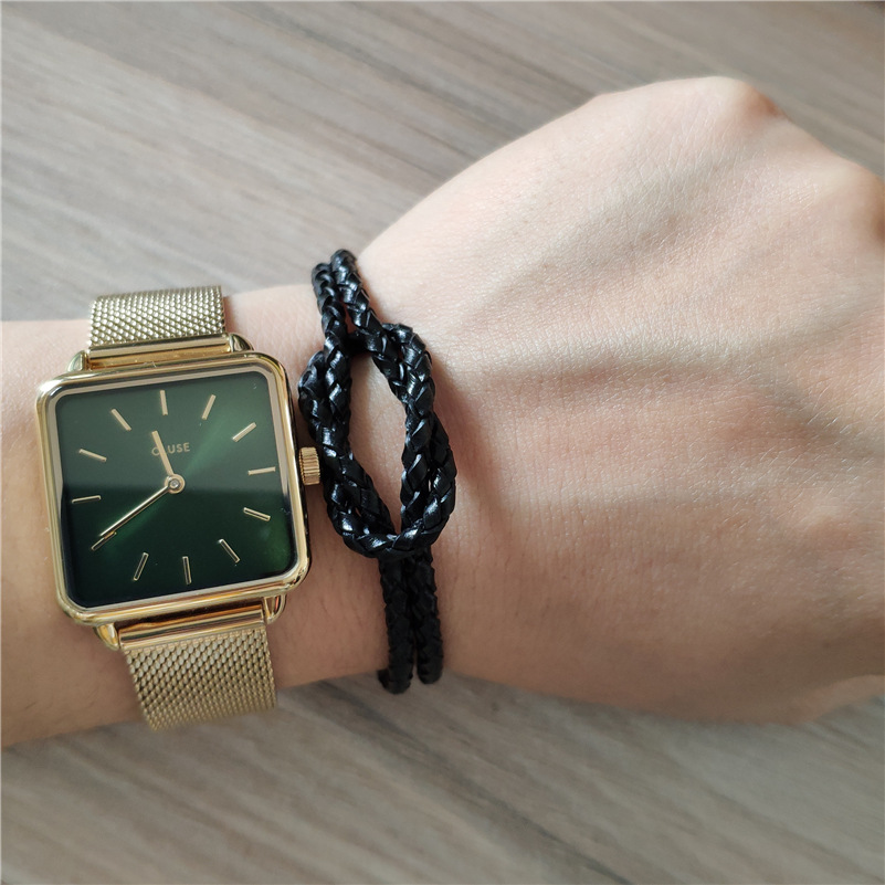Handmade Boho Hippie All Black Macrame Lucky Knot Pattern Genuine Leather Silver Clasp Bracelets For Man Women Hand Jewelry