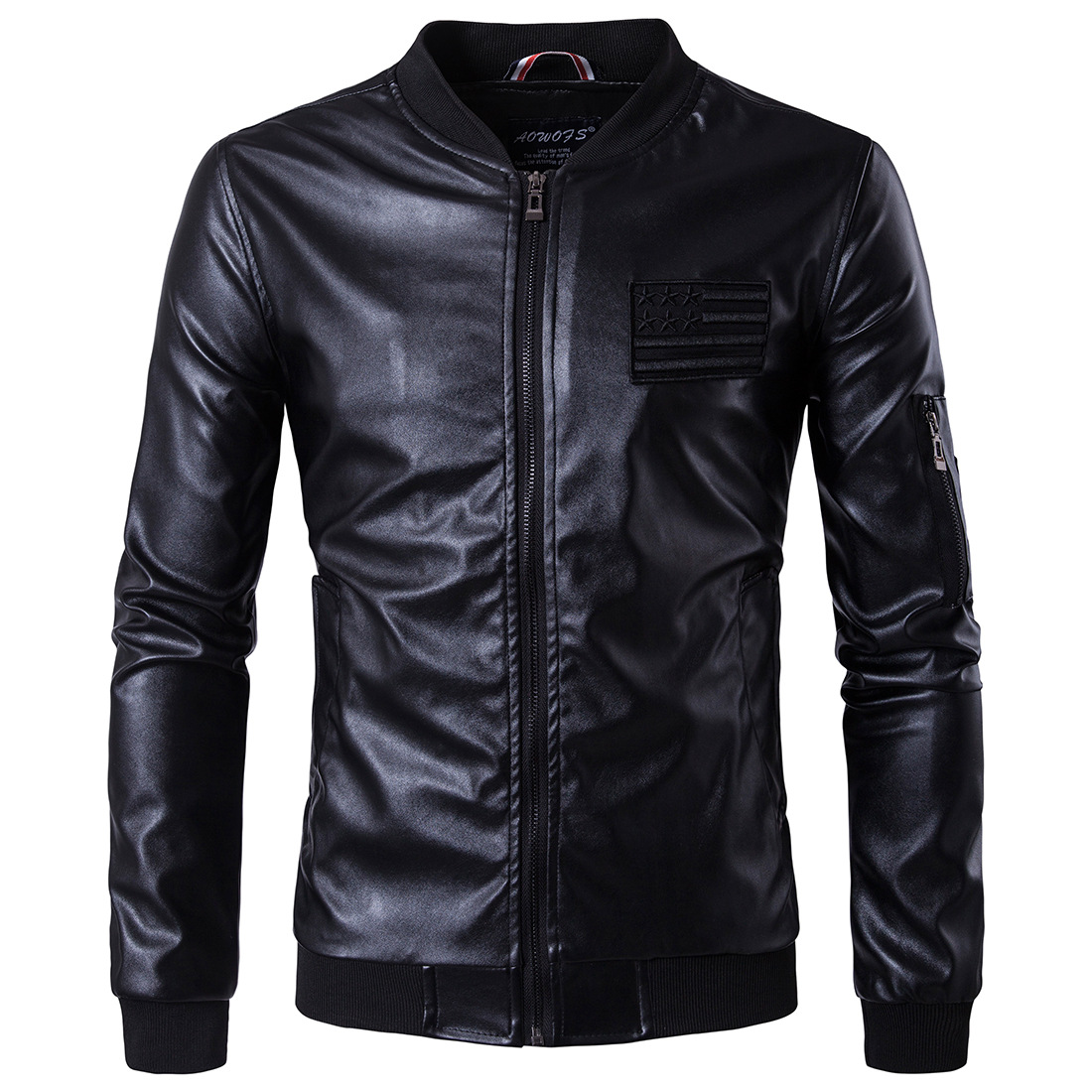 MarKyi 2017 brand new embroidery mens winter leather jacket good quality long sleeve zipper mens motorcycle jacket eu size 5xl
