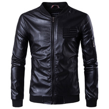 MarKyi 2017 brand new embroidery mens winter leather jacket good quality long sleeve zipper motorcycle eu size 5xl