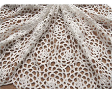 off White Crocheted Bridal Lace Fabrics Wedding Dress Gown Fabric with Hollowed Out Rose Pattern, 1 yard african lace fabric