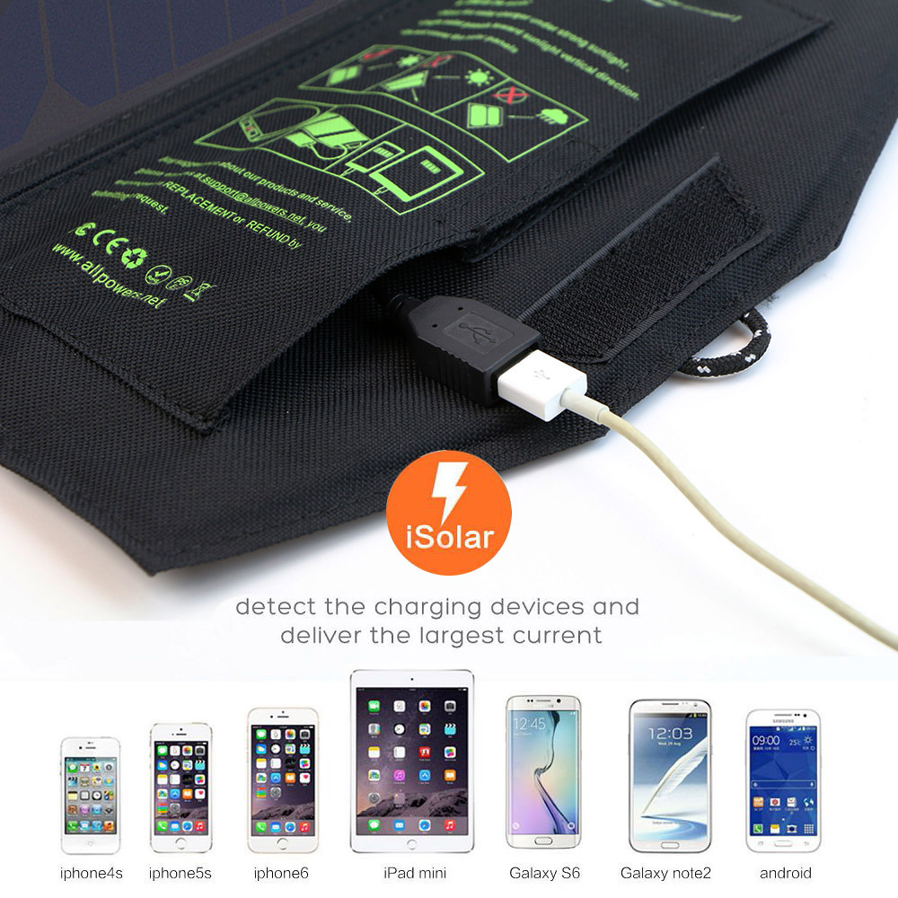 ALLPOWERS Portable Solar Panels Charger 5V USB for iPhone 6 6s 7 8 iPhone X Xr Xs Xs max iPad Air iPad mini Samsung LG HTC Sony.