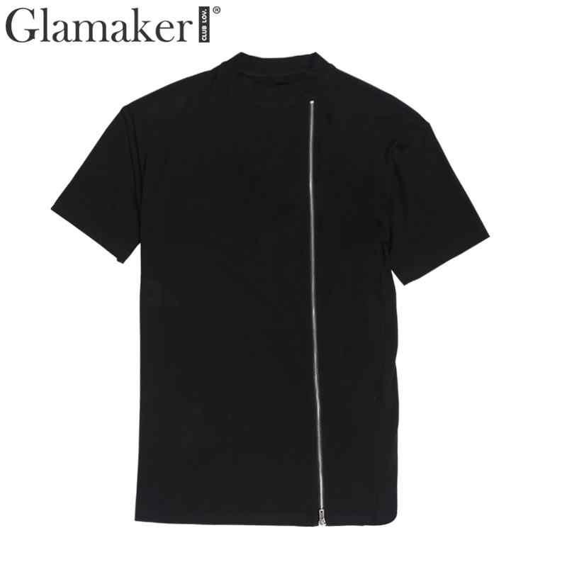 Glamaker Летние черные уличные Топы И Футболки на молнии новая футболка женская футболка 2019 мягкая хлопковая рубашка в Корейском стиле топ винтажная