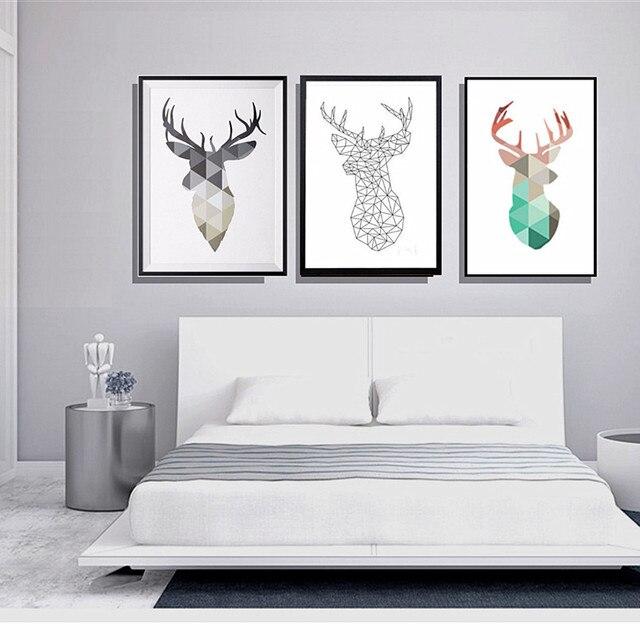 US $1.36 38% di SCONTO|Nave di goccia di disegno Geometrico testa di Cervo  di Stampa della Tela di Canapa immagine pittura per Arredamento camera da  ...