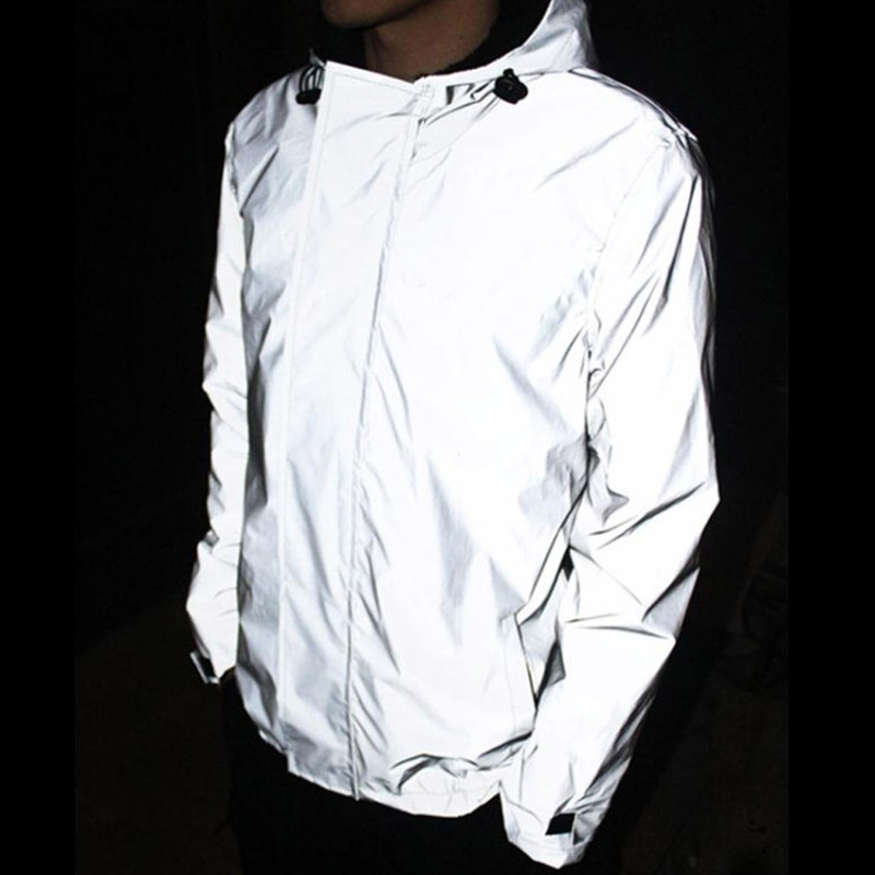 Autumn And Winter Super Reflective Clothing With Hat Outerwear Trench Up To Standard Reflective Tape Loose