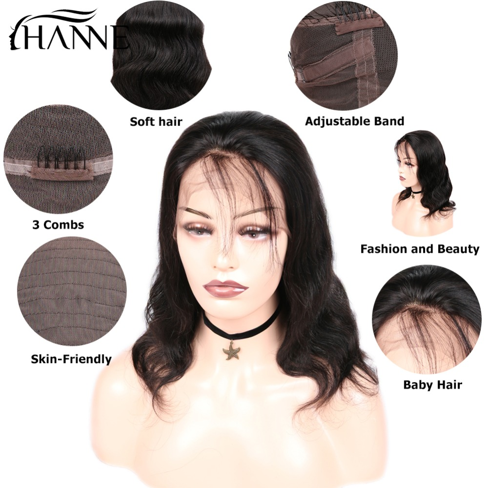 HANNE Hair Short Brazilian Lace Front Human Hair Wigs 360 Lace Wig Body Wave Lace Wigs Human Hair With Baby Hair for Women 1B#