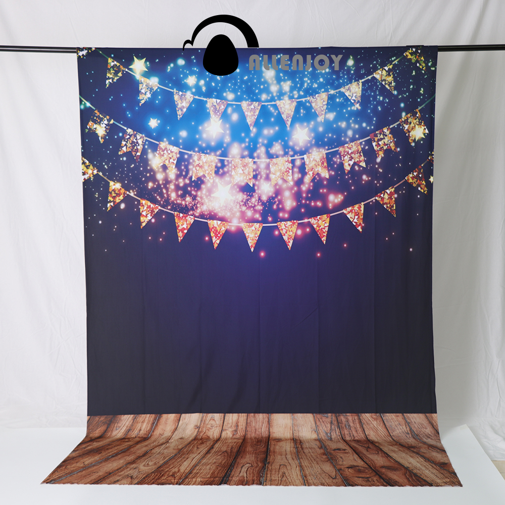 Allenjoy photography backdrops golden flags banners stars wooden board Photo studio funds studio background vinyl allenjoy studio photo background vintage colorful flags birthday blue floor photocall vinyl backdrops for photography