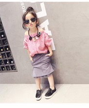 2016 new fashion summer plaid pattern shirt three quarter sleeve blouses baby girls children clothes 2 colors
