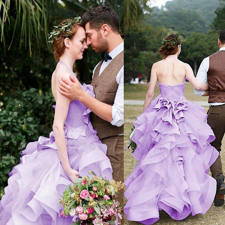 Amazing Ruffled Organza Halter Neckline Hi-lo A-line Wedding Dresses Ruched Bodice Purple Bridal Dress Robe De Mariee Courte