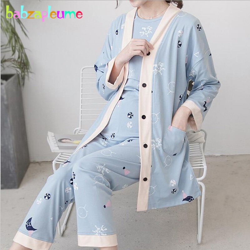 Spring Summer Maternity Clothes Wear Sleepwear For Nursing Pregnant Clothing Sets Women Pajamas Breastfeeding Nightwear BC1381-1