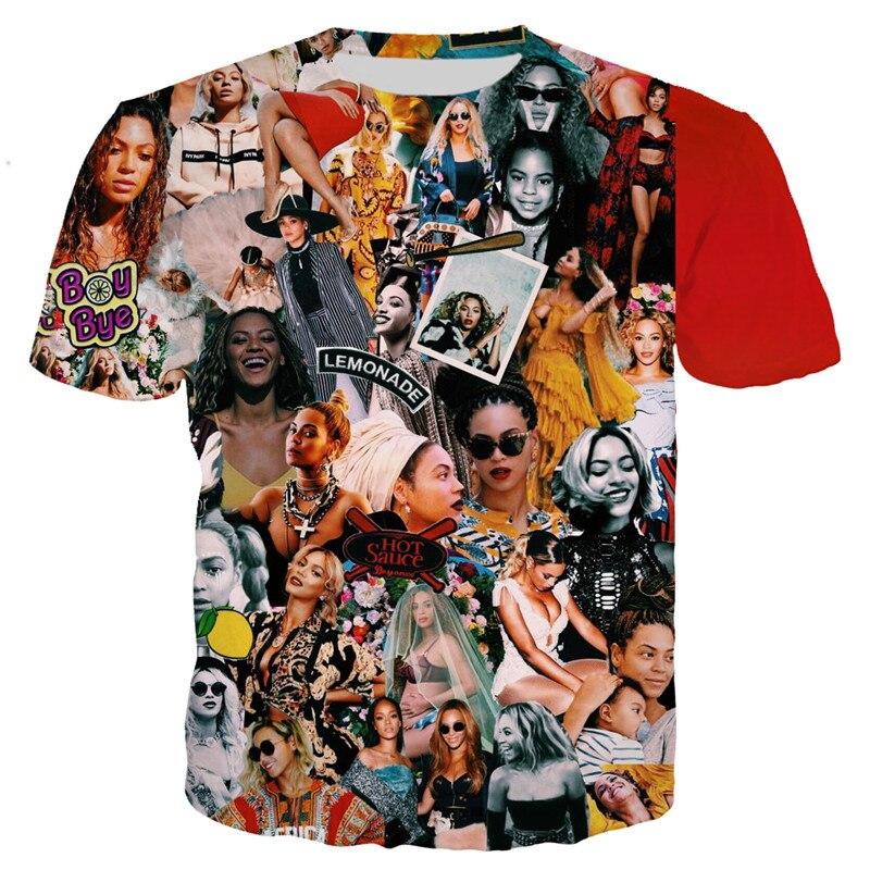 Men//Women/'s Collage star Beyonce//Rihanna 3D Print Casual T-Shirt Short Sleeve
