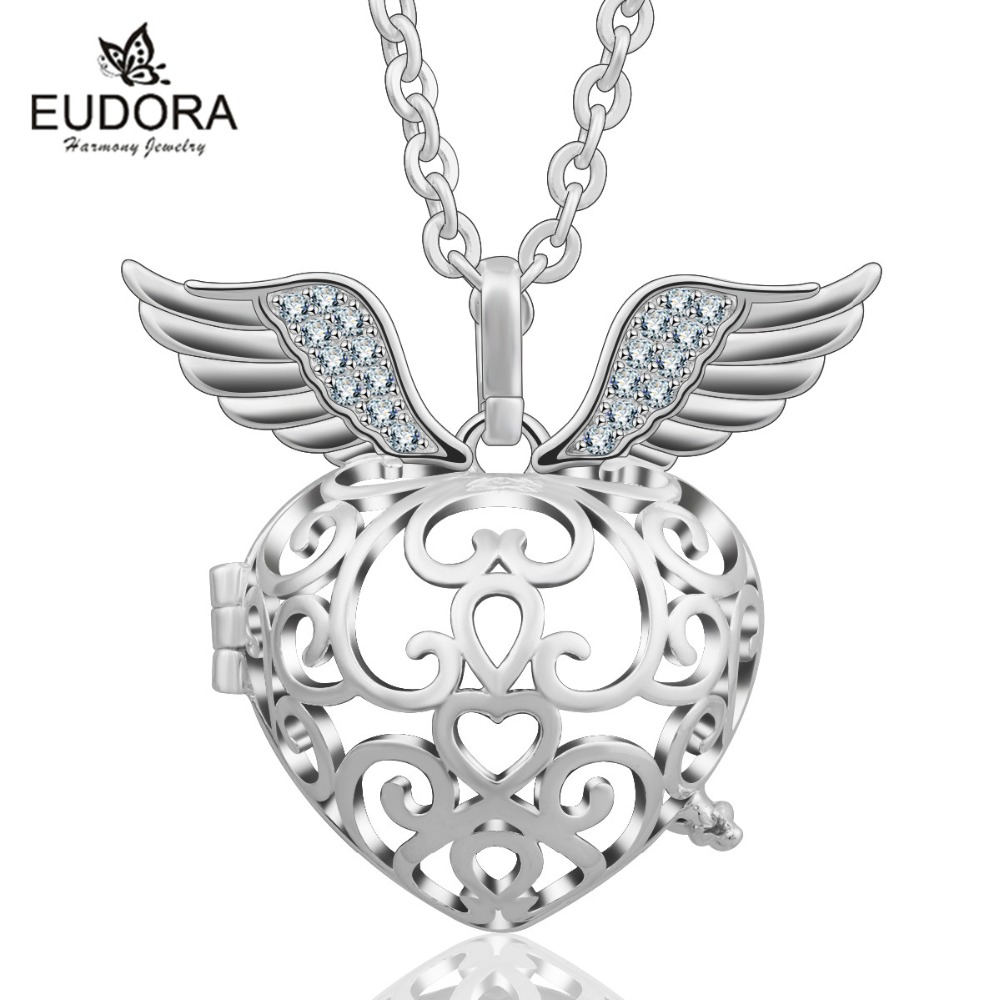 Eudora 20mm Angel Caller Wings Crystal Bola Pendant Locket Cage fit Harmony Chime Ball Floating Locket Pregnancy Women Baby Gift