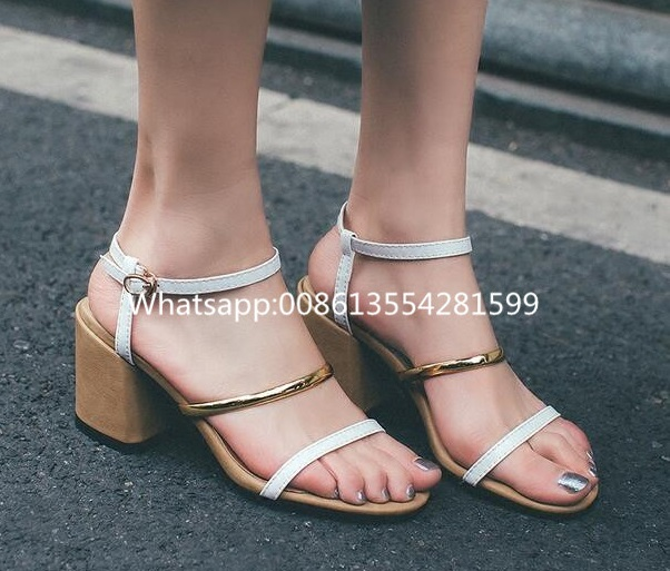 Newly Fashion Sample Style Strap Buckle Med Thick Spike Heels Gladiator Sandals Shoes Women Summer Mixed Color Open Toe Sandals шлепанцы hurley sample phantom sandals rifle