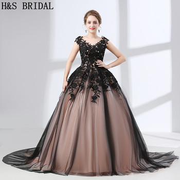H&S BRIDAL Black Lace Ball Gown Prom Dresses vestido Champagne Party Evening Gowns Tulle Lace Up Formal Evening Gown In Stock