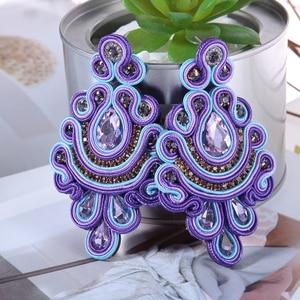 Image 3 - KPacTa Fashion Soutache Earring Ethnic Style Jewelry Women Crystal Handmade Drop Earring Accessories boucle doreille femme 2018