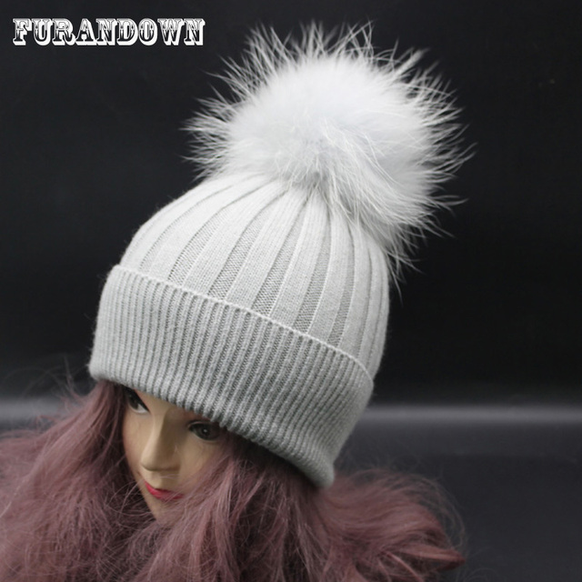2017 Brand Designer Adult Women Striped Wool Knitted Hat Winter Female Cap  Dyed Raccoon Fur Hats 2855bf2ea67